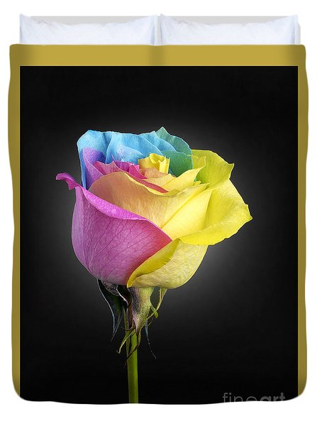 Rainbow Rose 1 Duvet Cover