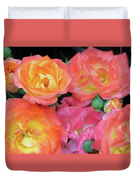 Duvet Cover featuring the photograph Multi-color Roses by Jerry Battle