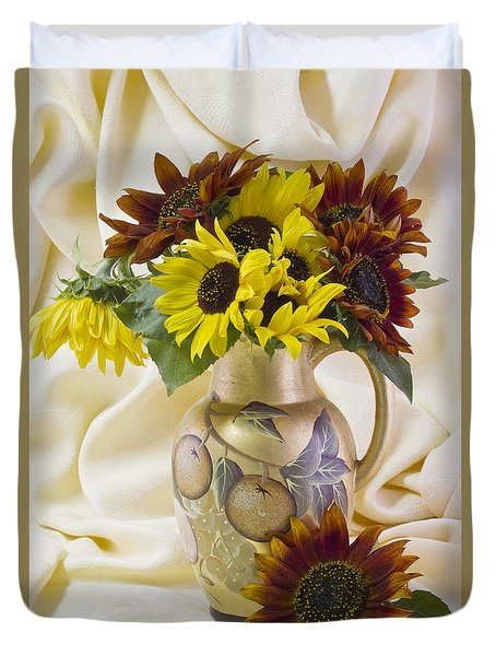 Multi Color Sunflowers Duvet Cover by Sandra Foster