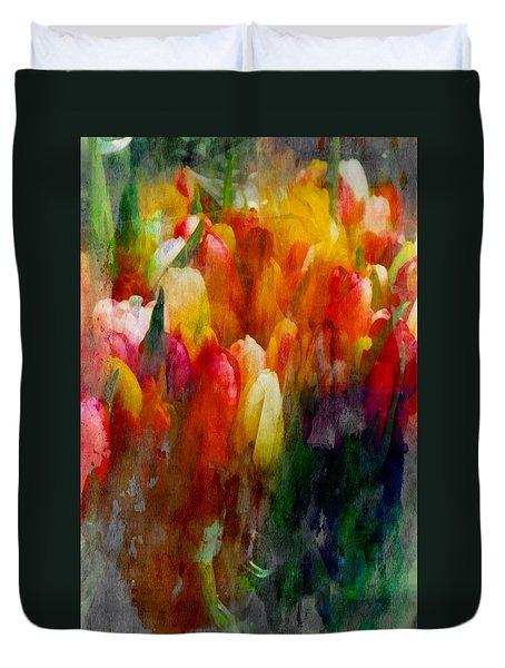 Multi Color Tulips Duvet Cover