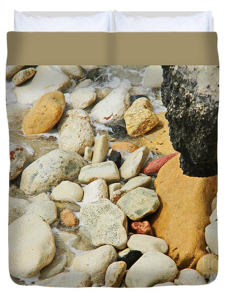 multi colored Beach rocks Duvet Cover