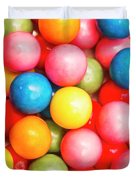 Multi Colored Gumballs. Sweets Background Duvet Cover