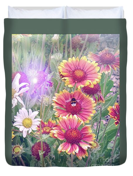 Multi Coloured Flowers With Bee Duvet Cover