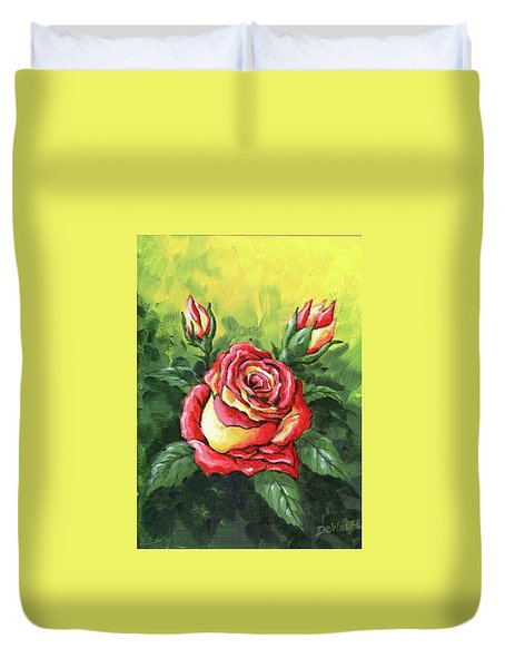 Multi Coloured Rose Sketch Duvet Cover