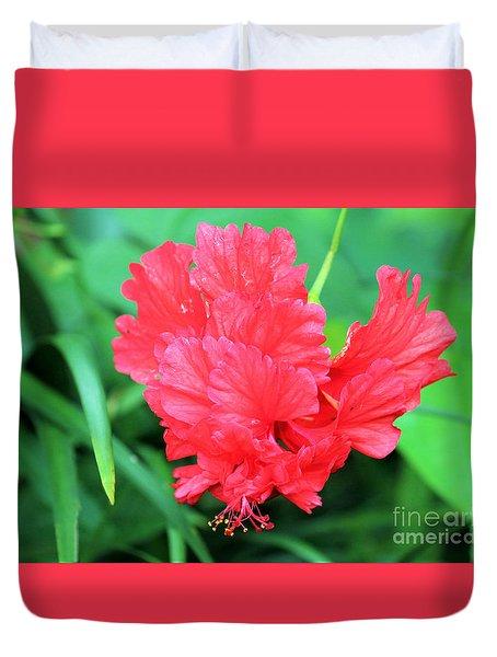 Multi-layered Red Hibiscus Duvet Cover