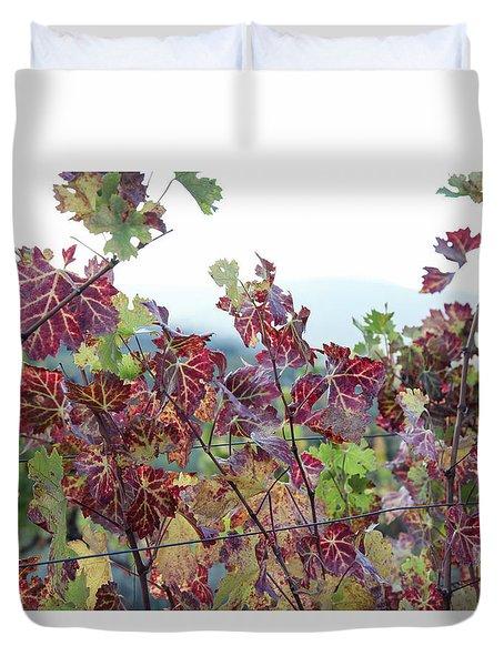 multicolor vine leaves  in Autumn Duvet Cover
