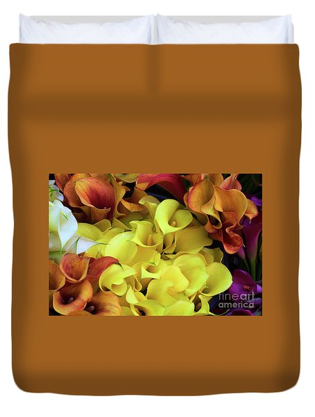 Multicolored Calla Lillies Duvet Cover