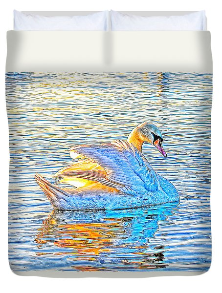 Multicolour Swan Duvet Cover
