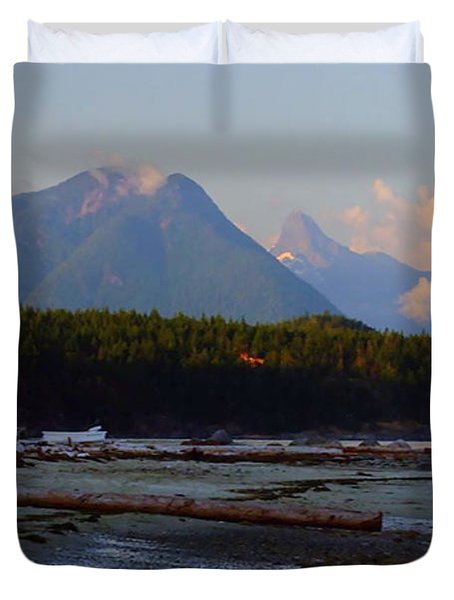 Multileval Photography In One Land Water Trees Mountain Clouds Skyview Olympic National Park America Duvet Cover