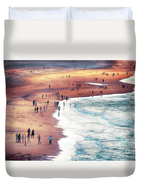 Duvet Cover featuring the photograph multiple exposure of people on North sea beach  by Ariadna De Raadt