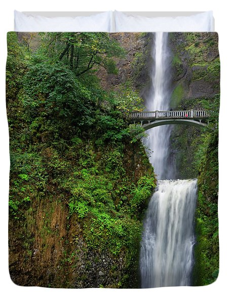 Duvet Cover featuring the photograph Multnoma Falls by Jonathan Davison