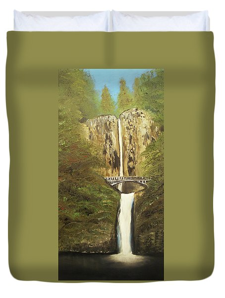 Multnomah Falls Duvet Cover by Angela Stout