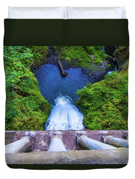 Duvet Cover featuring the photograph Multnomah Falls Bridge by Jonny D