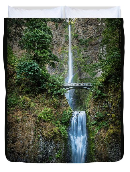 Duvet Cover featuring the photograph Multnomah Falls by Chris McKenna