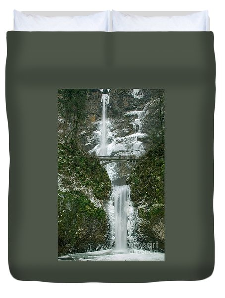 Multnomah Falls Ice Duvet Cover