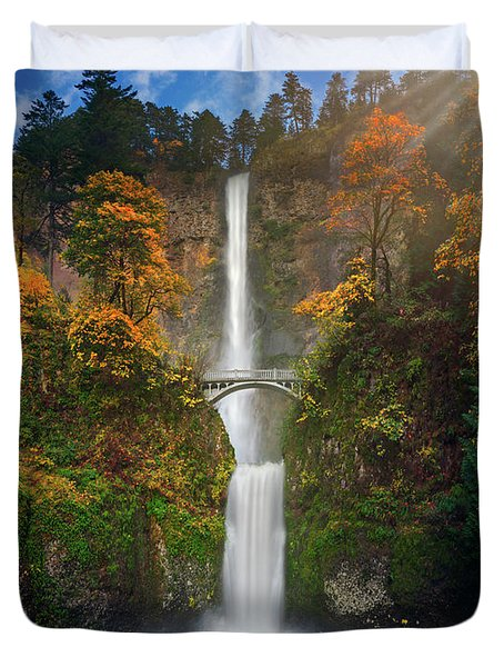 Multnomah Falls In Autumn Colors -panorama Duvet Cover
