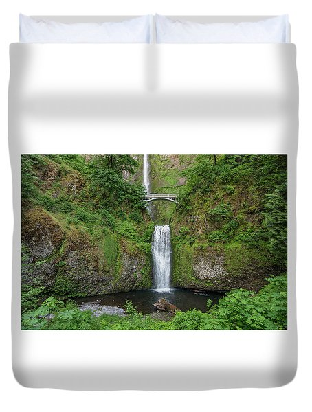 Duvet Cover featuring the photograph Multnomah Falls In Spring by Greg Nyquist