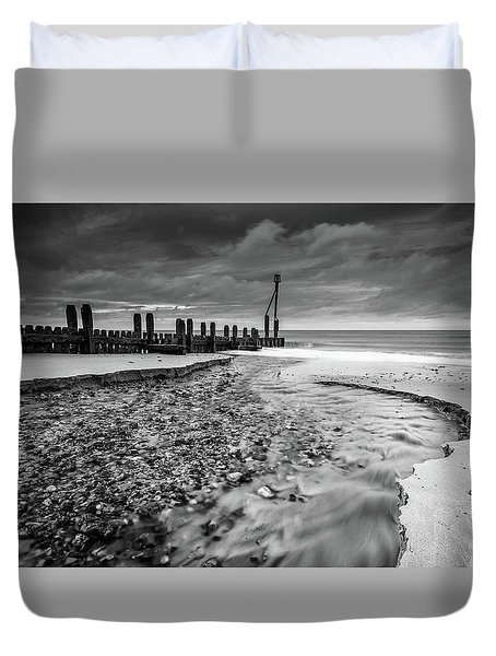 Duvet Cover featuring the photograph Mundesley Beach - Mono by James Billings