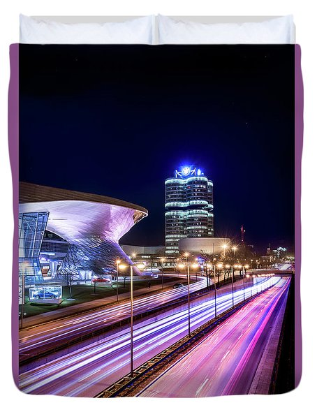 Duvet Cover featuring the pyrography Munich - Bmw City At Night by Hannes Cmarits