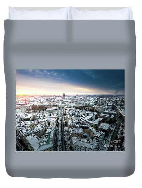 Duvet Cover featuring the photograph Munich - Sunrise At A Winter Day by Hannes Cmarits