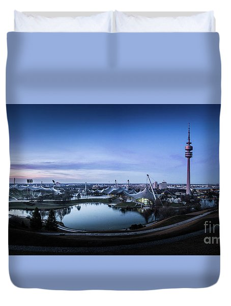 Duvet Cover featuring the photograph Munich - Watching The Sunset At The Olympiapark by Hannes Cmarits