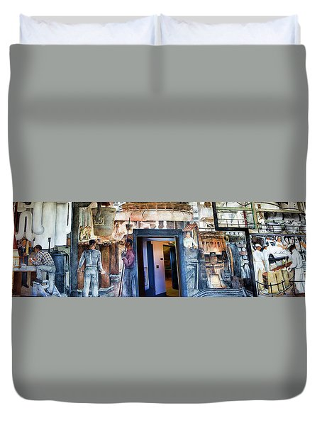 Mural Coit Tower Interior Panorama  Duvet Cover