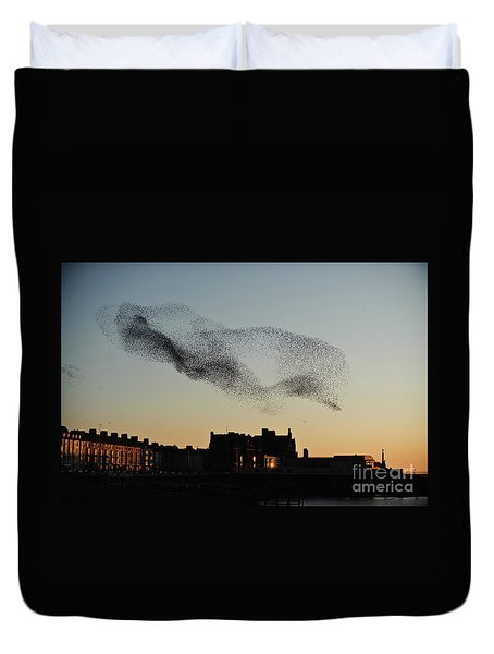 Murmuration Of Starlings Over Aberystwyth Wales Uk Duvet Cover