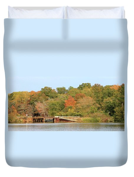 Duvet Cover featuring the photograph Murphy Mill Dam/bridge by Jerry Battle