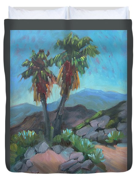 Duvet Cover featuring the painting Murray Trail Andreas Canyon by Diane McClary