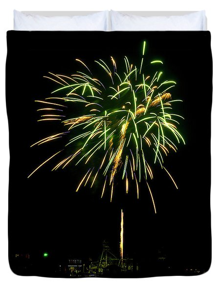 Murrells Inlet Fireworks Duvet Cover by Bill Barber