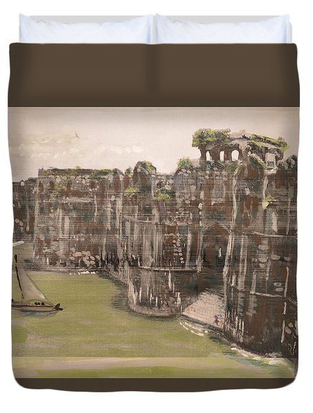 Duvet Cover featuring the painting Murud Janjira Fort by Vikram Singh