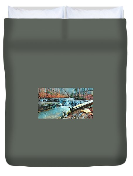 Muscatatuck Falls Touch Of Blue Abstract Duvet Cover