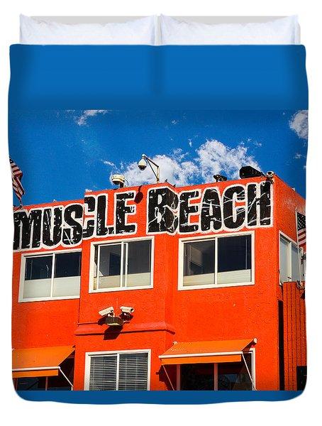 Muscle Beach Duvet Cover by Robert Hebert
