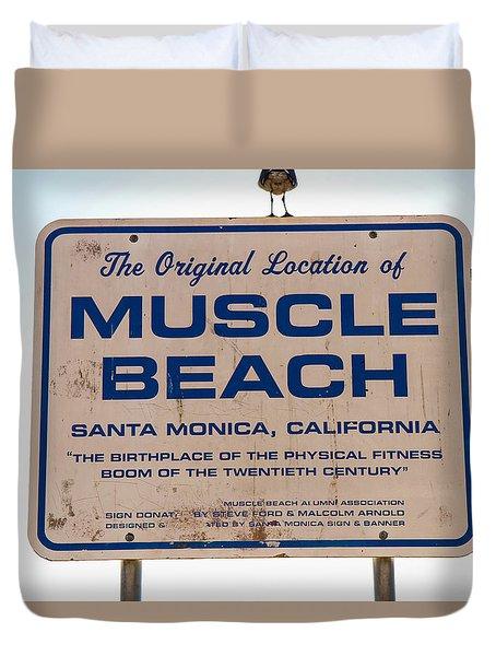 Muscle Beach Sign Duvet Cover by Robert Hebert