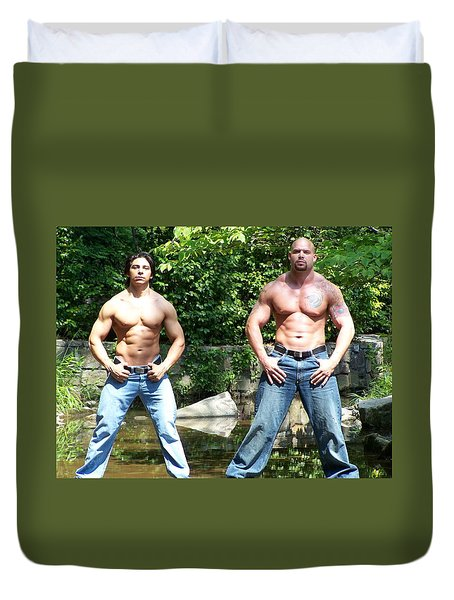 Duvet Cover featuring the photograph Muscle Duo by Jake Hartz