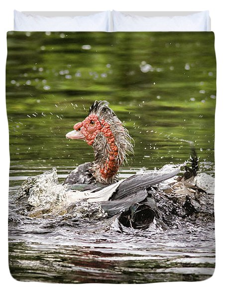 Duvet Cover featuring the photograph Muscovy Duck Bath Time by John Black