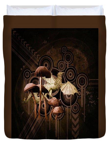 Duvet Cover featuring the digital art Mushroom Dragon by Richard Ricci