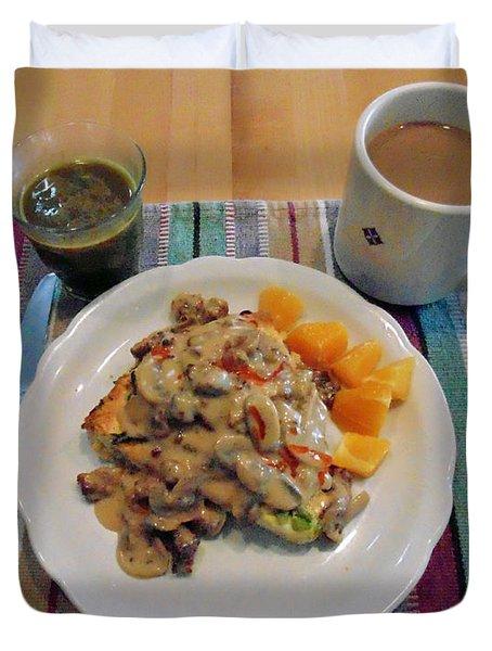 Mushroom Gravy Over Breakfast Quiche  Duvet Cover