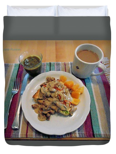 Mushroom Gravy Over Breakfast Quiche  Duvet Cover