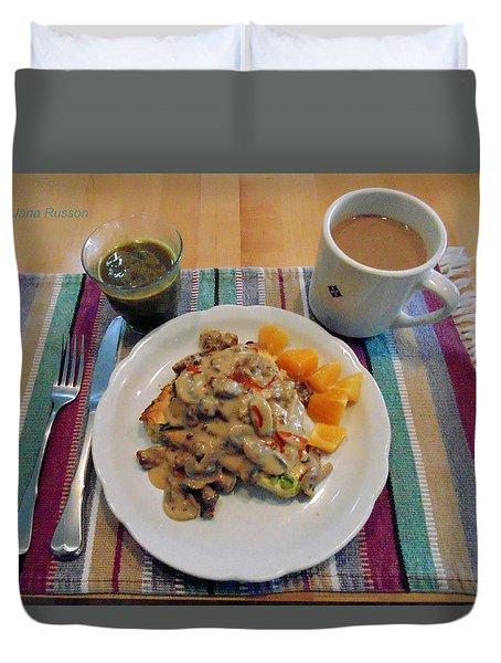 Duvet Cover featuring the digital art Mushroom Gravy Over Breakfast Quiche  by Jana Russon