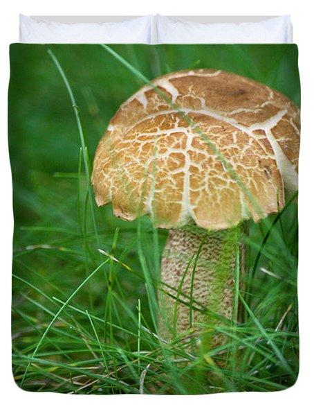 Mushroom In The Grass Duvet Cover by Teresa Mucha
