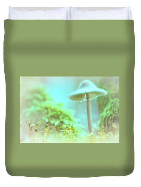 Duvet Cover featuring the photograph Mushroom Misty Dreams, Mycena Galericulata by Dirk Ercken