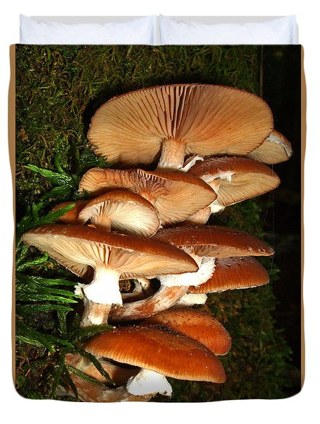 Duvet Cover featuring the photograph Mushrooms 015 by George Bostian