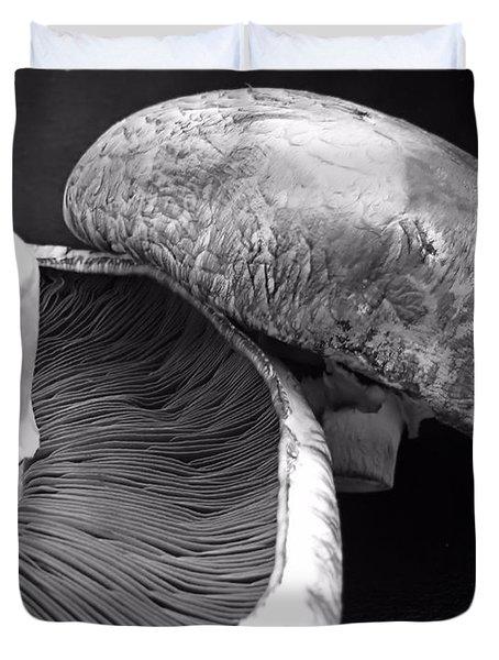 Mushrooms In Black And White Duvet Cover