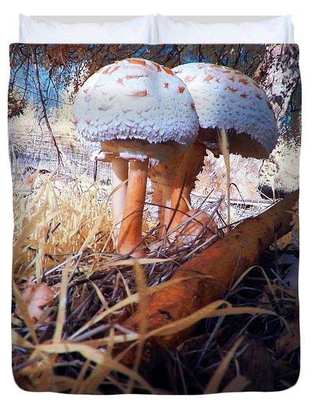 Mushrooms In The Grass Duvet Cover