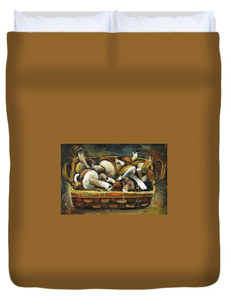 Duvet Cover featuring the painting Mushrooms by Mikhail Zarovny