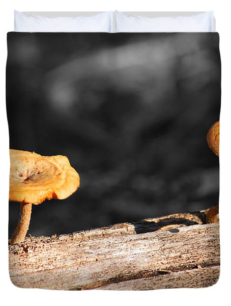 Mushrooms On A Branch Duvet Cover by Donna Greene