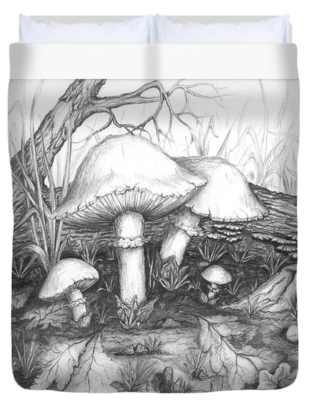 Mushrooms -pencil Study Duvet Cover