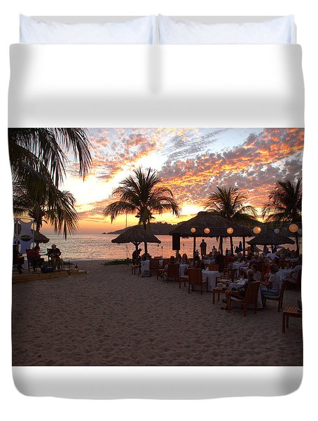 Duvet Cover featuring the photograph Music And Dining On The Beach by Jim Walls PhotoArtist