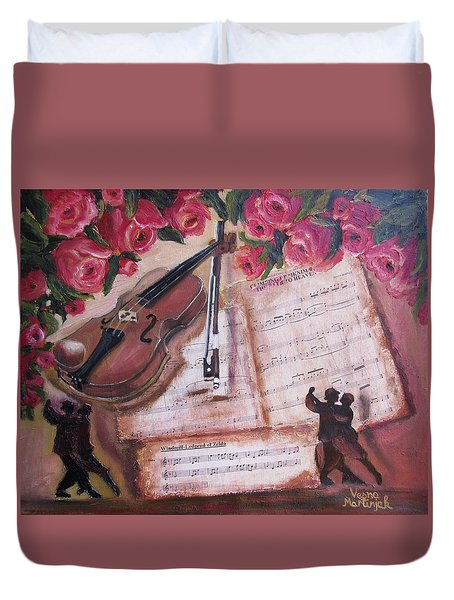 Music And Roses Duvet Cover by Vesna Martinjak